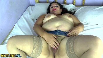 fat latina mature undressing and spreading.