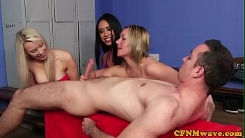 dicksucking babes teasing during cfnm fetish