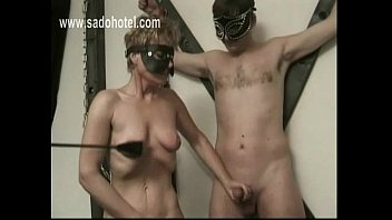 horny slave mastrubate her own pussy and jerking.