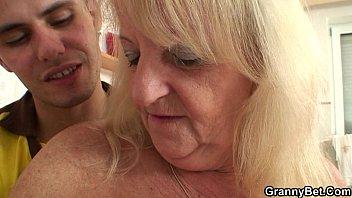 blonde granny in stockings rides stranger'_s.