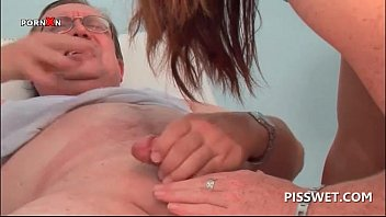 wild doctor having his pissing dick fucked in threesome
