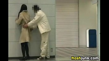 japanese chick flashing and fucking in.