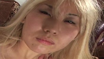 slutty blonde asian gets her holes banged hard.