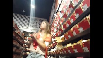 candid thick blonde shoe shopping
