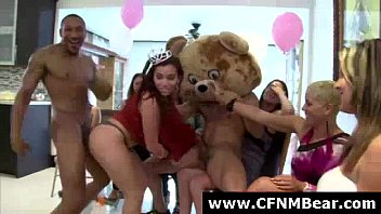 group of cfnm party girls sucking.