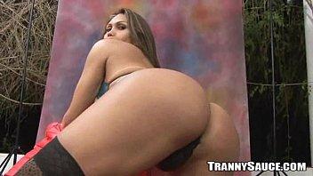 sexy brunette shemale hottie taking it.