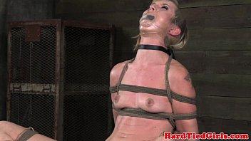 tied up bdsm sub pussy stretch.