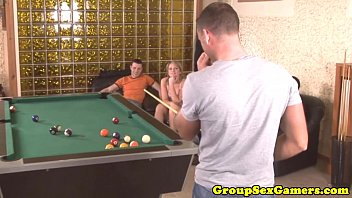 amateur european gangbang on a pool.