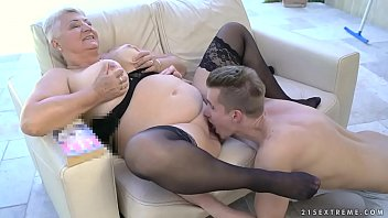 fat grandma&#039_s tits covered with jizz