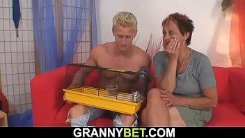 granny neighbor riding his horny cock