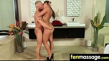 sexy babe is massaged and fucked by her.