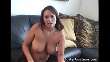 busty leslie masturbates with dildo on her first audition