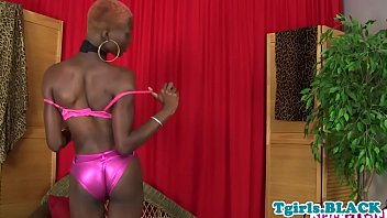solo ebony shemale jerking off her.