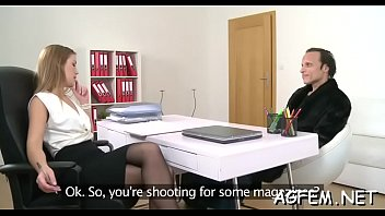 lustful female agent lastly receives a hard cock.