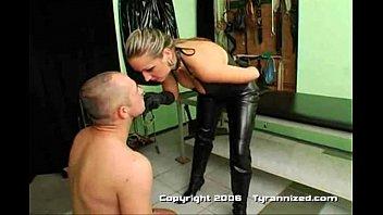 brutal mistress spit faceslap strapon guy