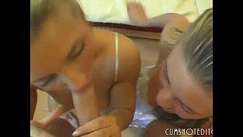 hot german amateur twins pleasing big cock pov part1