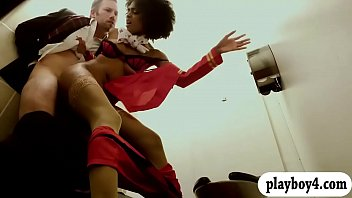 afro hair ebony stewardess gets slammed in the toilet