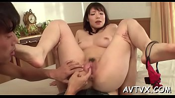asian chick gets her hairy pussy.