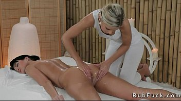 lesbian masseuse and babe fingering each.
