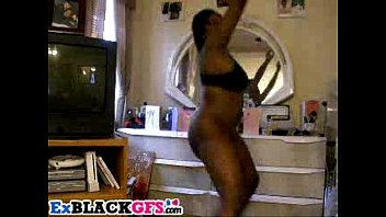 black gf with big tits and booty dancing.