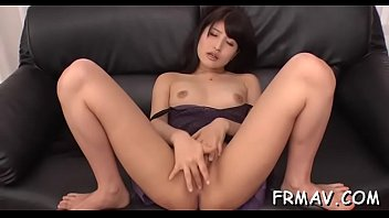 lusty asian masturbates previous to giving.
