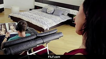 filf - lily lane catches stepson jerking off.