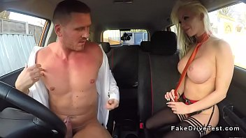 big tits driving examiner in lingerie.