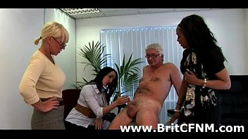 cute british cfnm babes jerk off cfnm guy.
