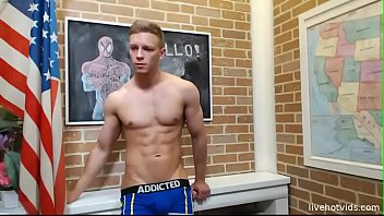 ripped twink strips and shows off for cam.