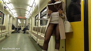 jeny smith seamless pantyhose subway pussy.