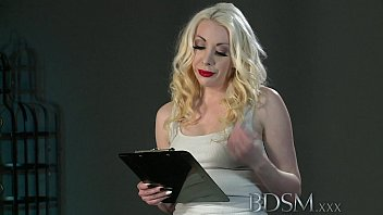bdsm xxx sexy blonde gets hooded and suspended.