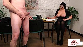 busty babe instructs guy to tug.