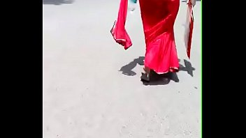 red saree aunty street walk - hot bulky.