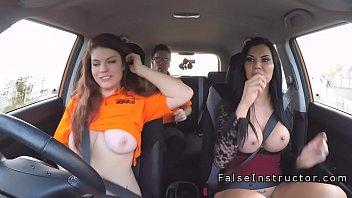 threesome public in driving school car