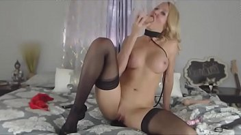 real sexy busty blonde on a leash and.