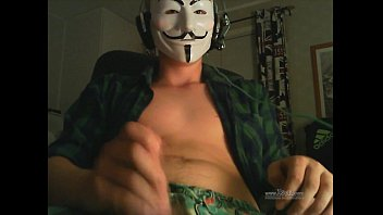 straight guy fawkes masked guy jerks.