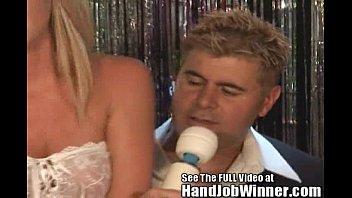 tan blonde brynn tyler gives her fan jeremy.