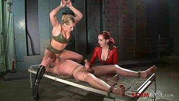 two femdom sluts punish tied dude