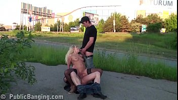 extreme public street threesome sex with a cute.