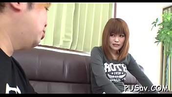 japanese snatch gets finger fucked as she licks.