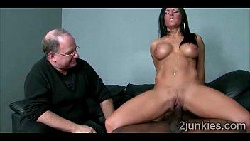 stunning brunette milf mounts black dick in front.
