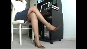 ebony milf relaxes her stinky pantyhose feet after.