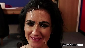 wacky bombshell gets jizz shot on her face.