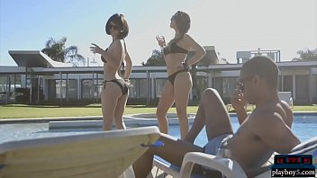 black guy with 2 girlfriends outdoor.