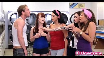 best friends catch guy sniffing panties at laundromat.