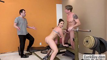 hairy brunette fucks her personal trainer in front.
