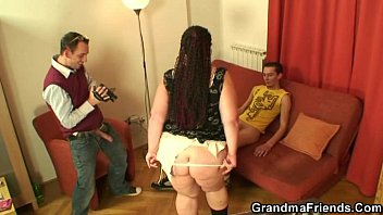 two young dudes share chubby mature.