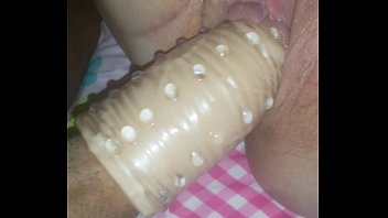 thick cock sleeve rapped in studded cock sleeve.