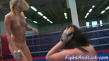 wrestling european babes rub their pussies
