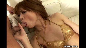 asian cuttie in her golden bikini sucking a.
